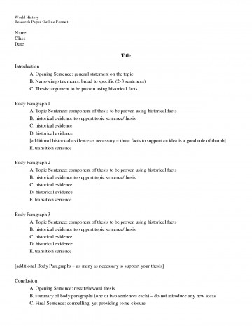 015 Research Paper Outline Example Wonderful For Template Mla Sample 360
