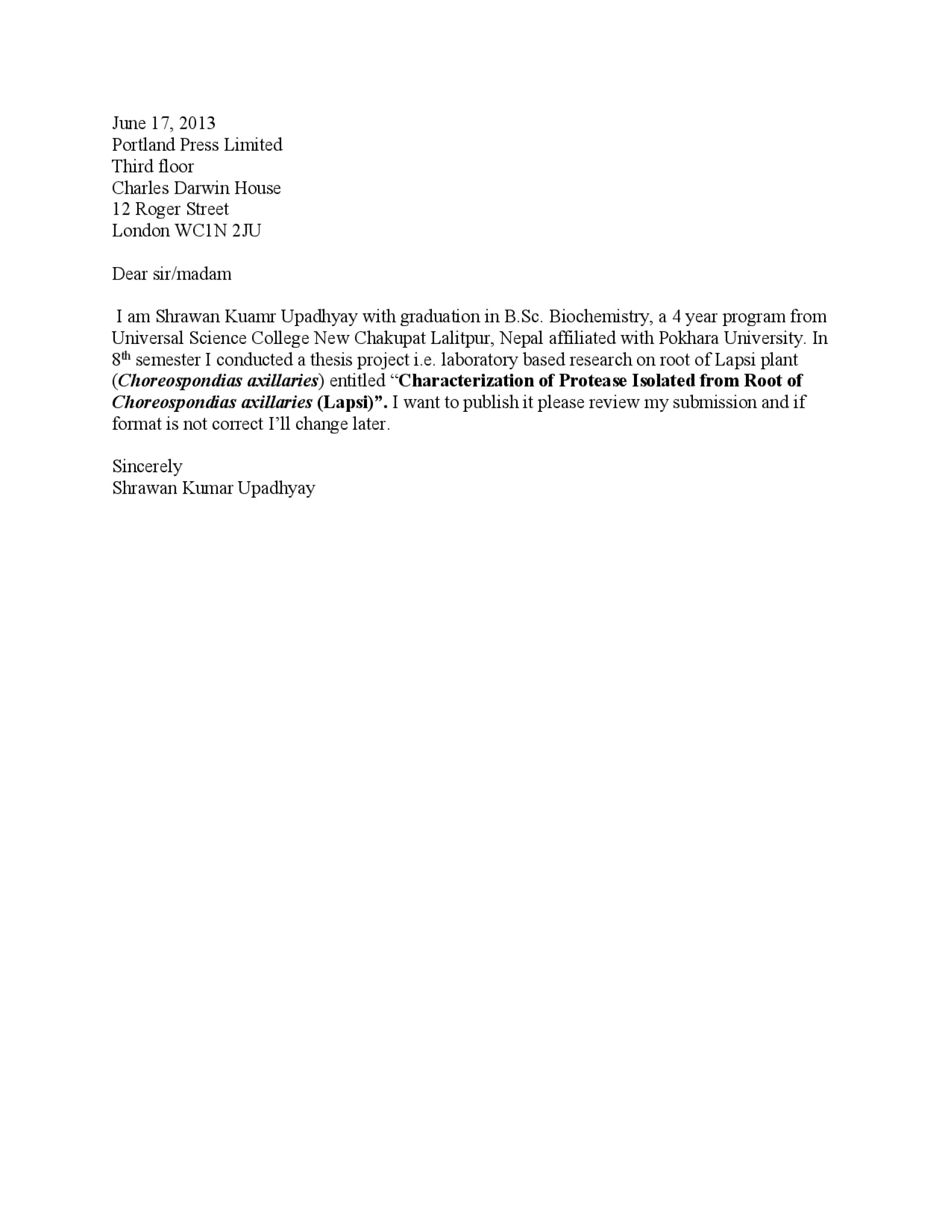 016 Cover Letter Research Paper Template For