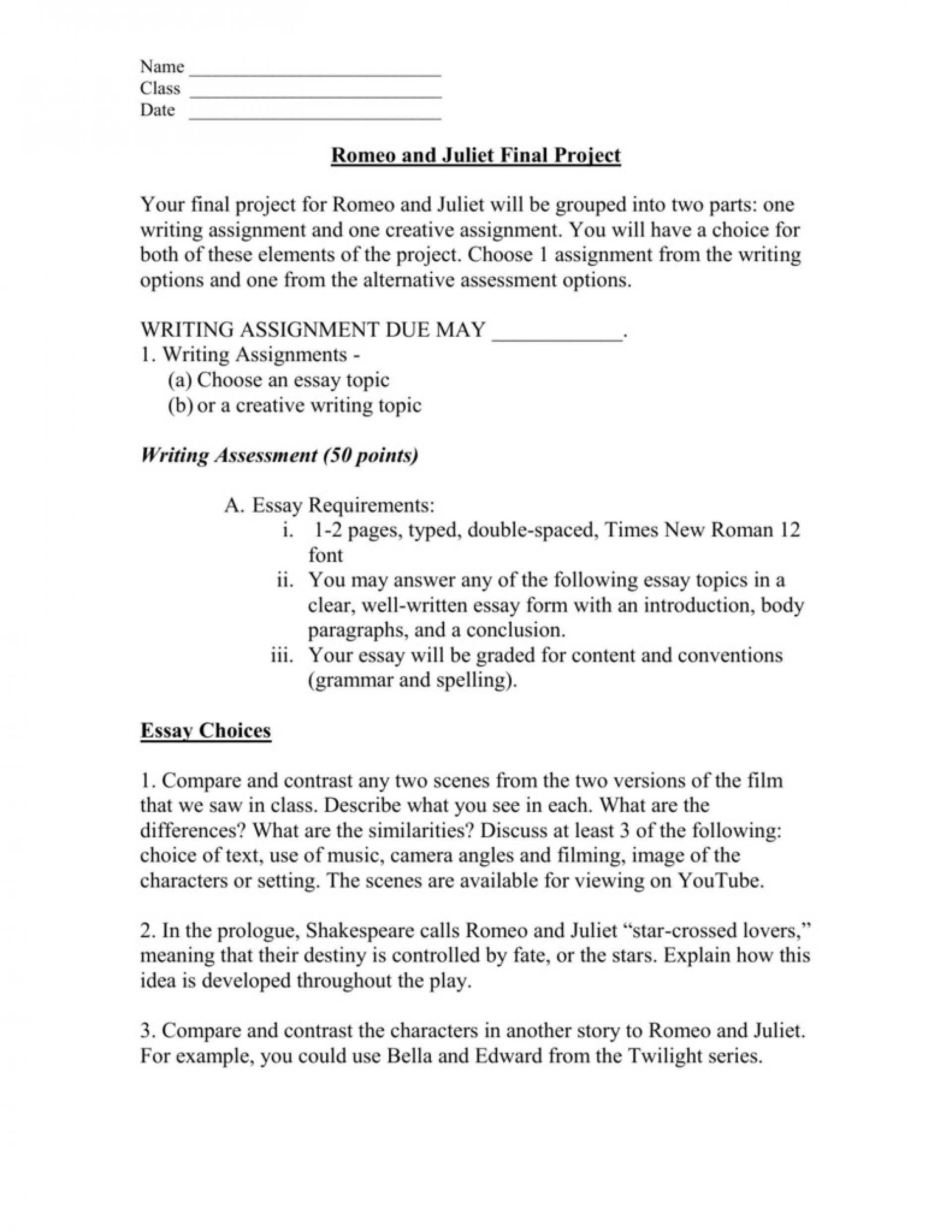 Private High School Admission Essay Examples  Computer Science Essay Topics also Yellow Wallpaper Analysis Essay  Creative Project Ideas For Romeo And Juliet Luxury  Best English Essays