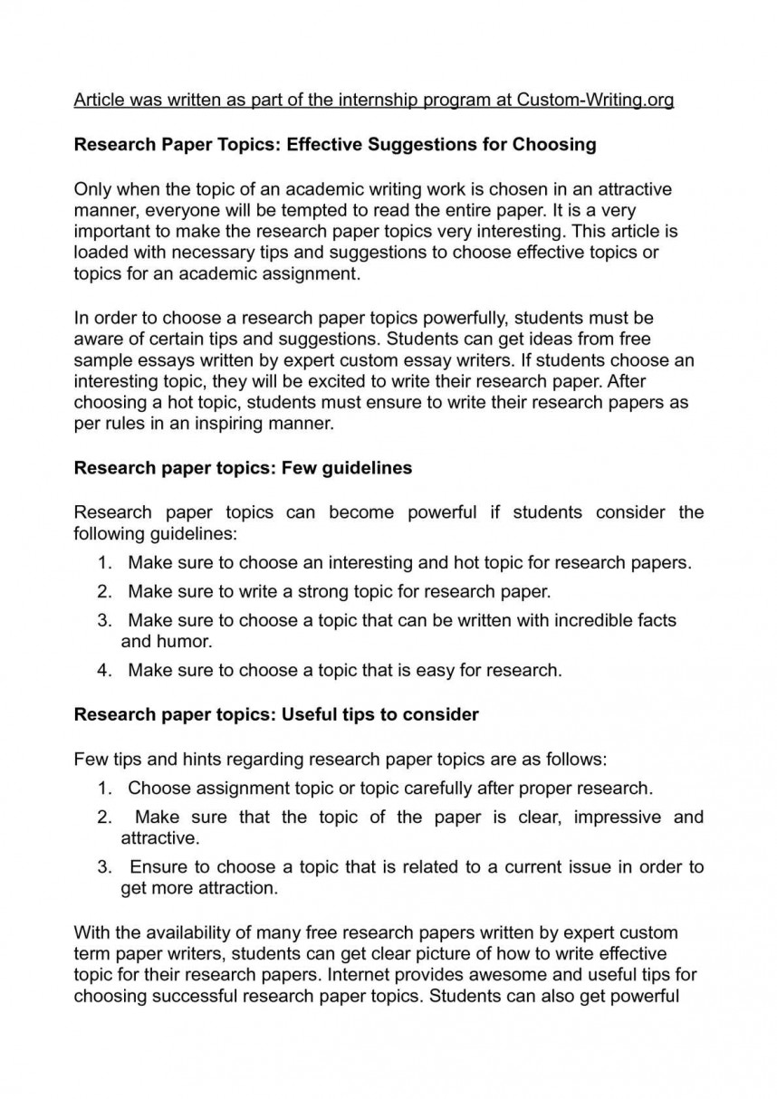 016 Easy Research Paper Topics Fantastic For Biology Psychology History 868