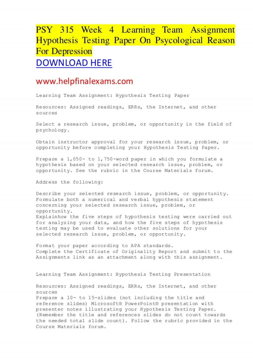 016 Hypothesis Testing In Research Paper Psy315week4learningteamassignmenthypothesistestingpaperonpsycologicalreasonfordepression Thumbnail Awesome Pdf Large