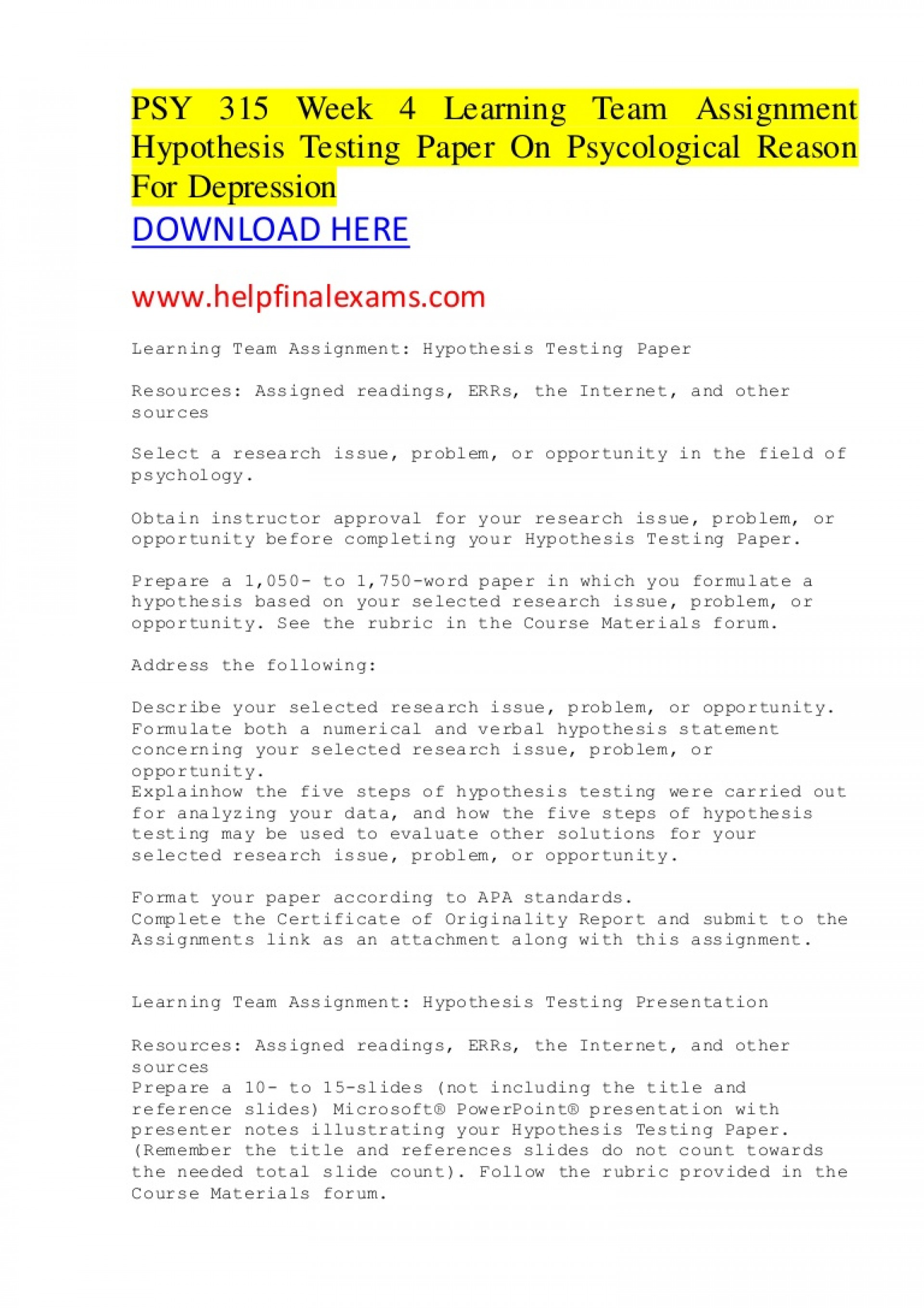 016 Hypothesis Testing In Research Paper Psy315week4learningteamassignmenthypothesistestingpaperonpsycologicalreasonfordepression Thumbnail Awesome Pdf 1920