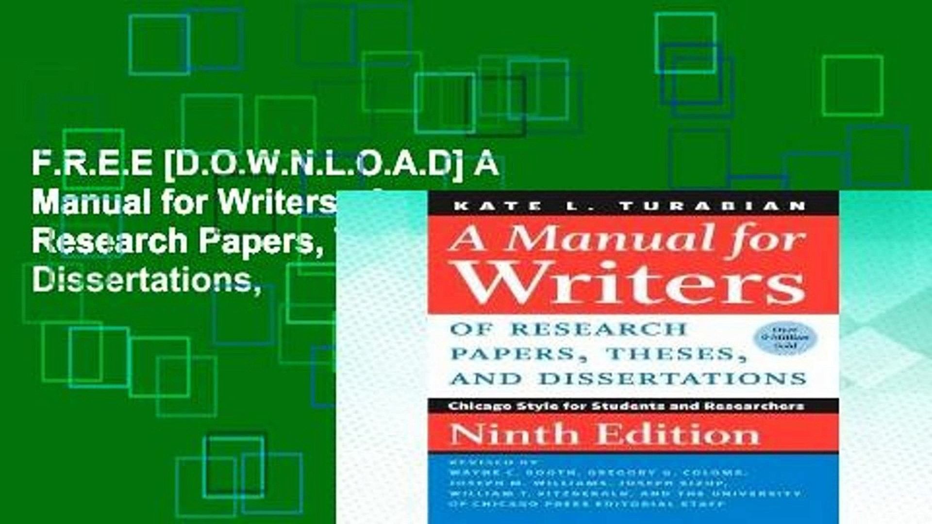 016 Manual For Writers Of Research Papers Theses And Dissertations Paper X1080 Sensational A Eighth Edition Pdf 9th 8th 1920