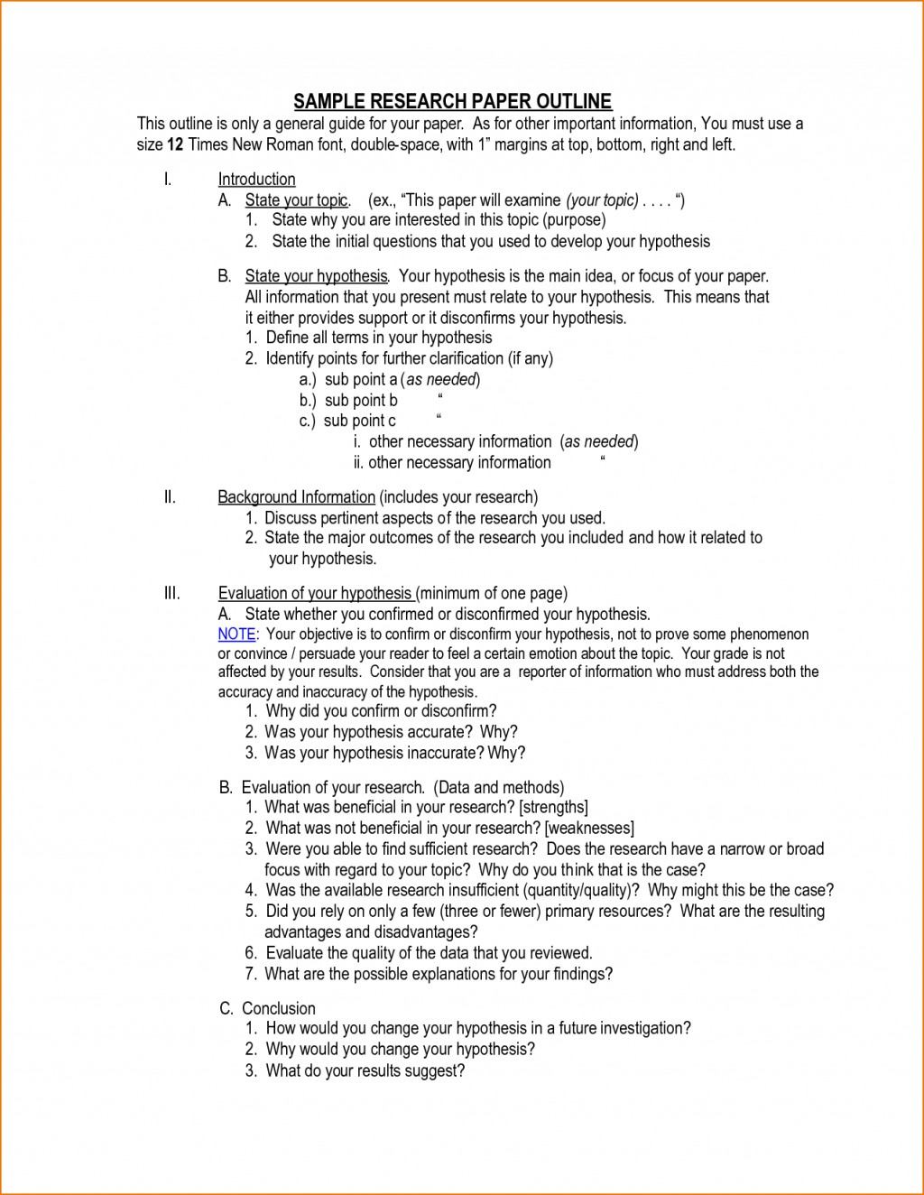 016 Outline Template For Research Paper Magnificent Hypothesis Writing In Null Meaning Large