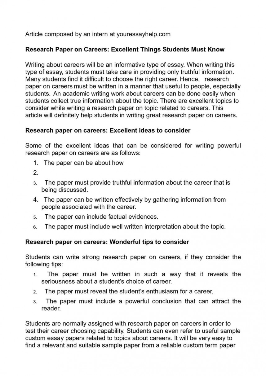 016 P1 Research Paper Career Related Singular Topics Development