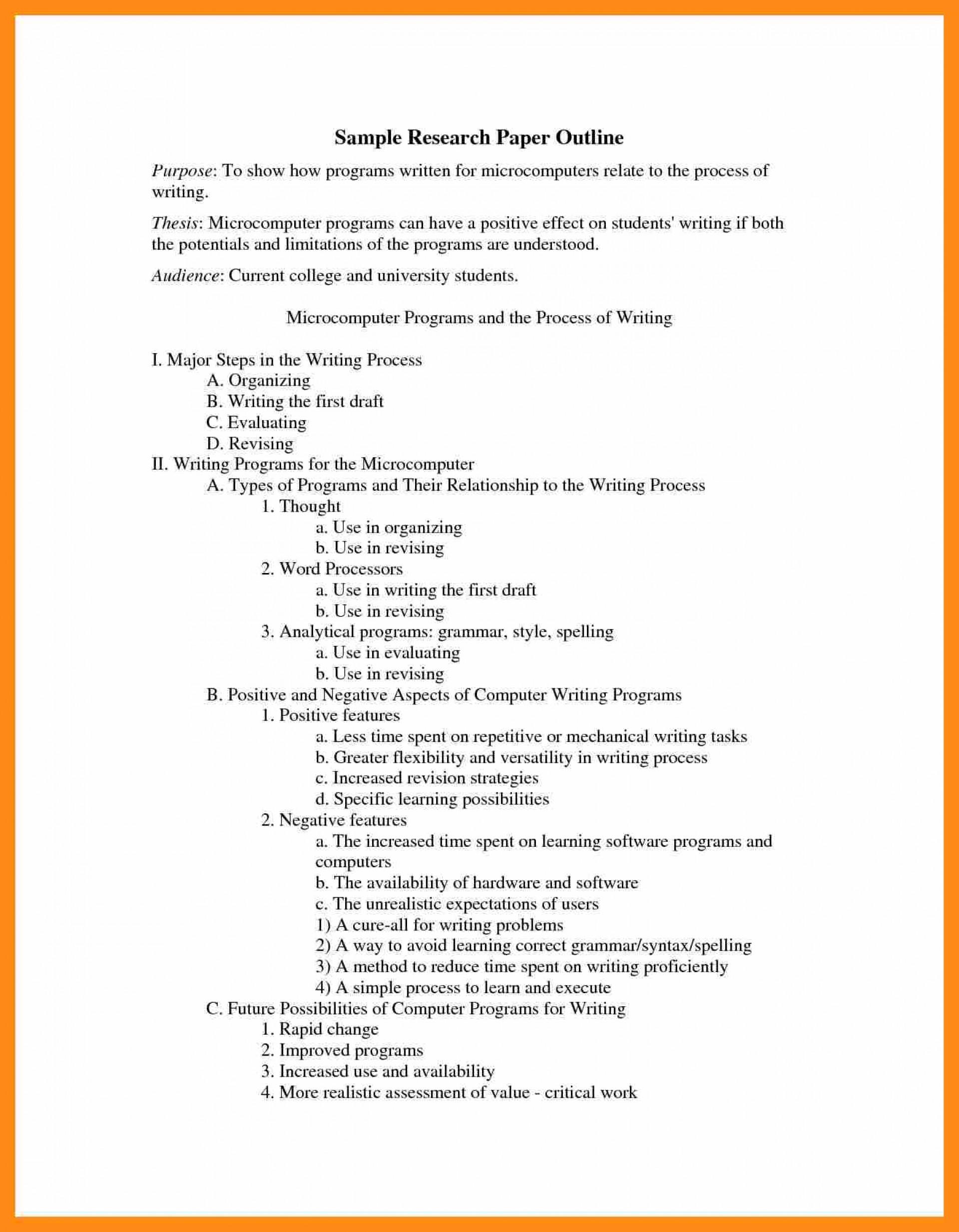 016 Research Paper Apa Outline Format Sample College Example 159089 Stupendous 1920