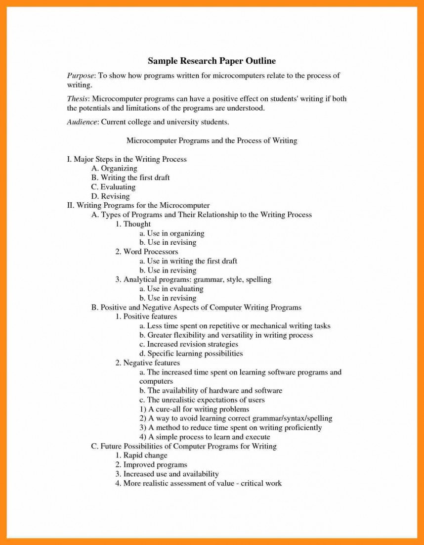 016 Research Paper Apa Outline Format Sample College Example 159089 Stupendous