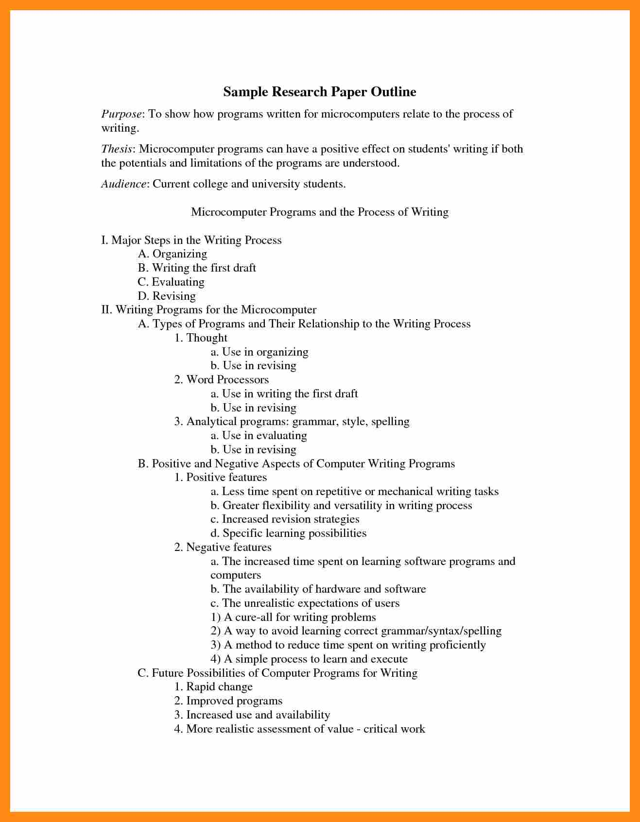 016 Research Paper Apa Outline Format Sample College Example 159089 Stupendous Full