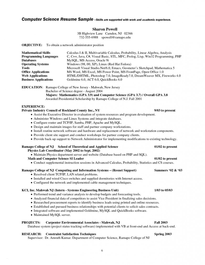 016 Research Paper Computer Science Sample Resume Example Beautiful Ideas Best Of For Internship In Puter Magnificent