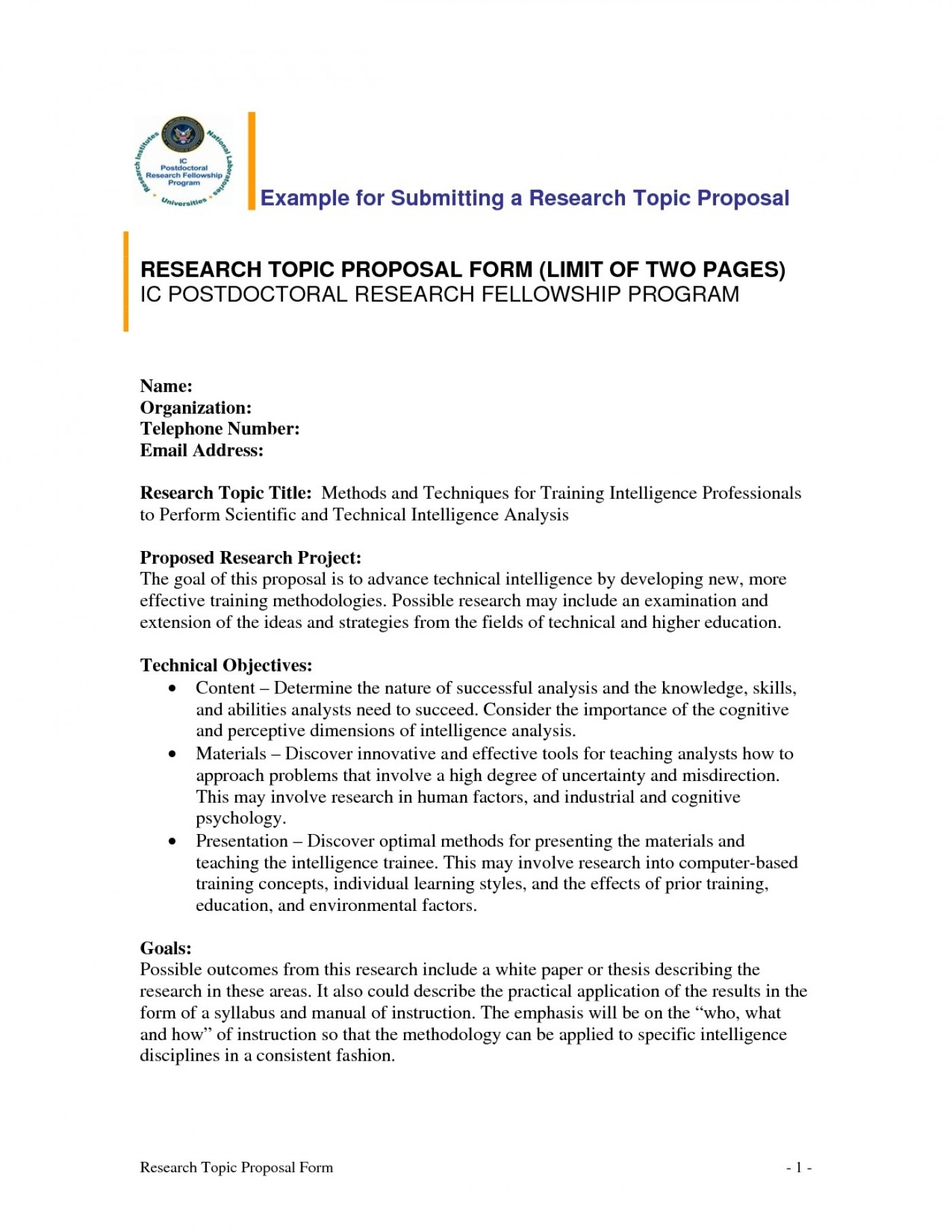 010 Example Research Proposals Template ~ Museumlegs
