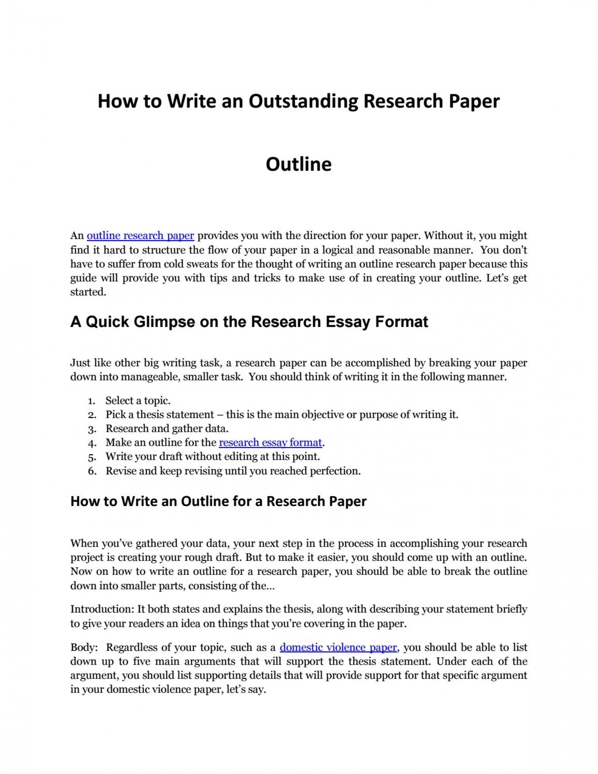 016 Research Paper How To Make Page 1 Incredible A An Outline For Examples In Word Title 1920