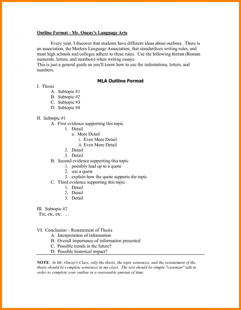 016 Research Paper Mla Format Outlines 148 Awesome Example Sample Style Outline 480