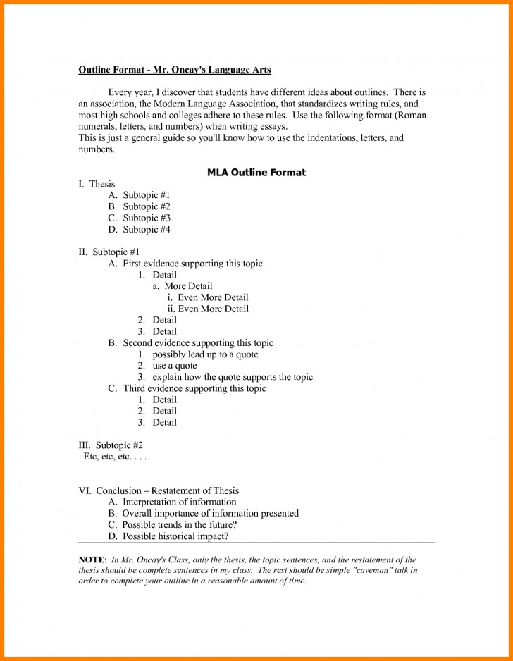 016 Research Paper Mla Format Outlines 148 Awesome Example Sample Style Outline 728