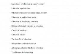 016 Topic Suggestions For Essays On Education Research Paper Shocking Ideas