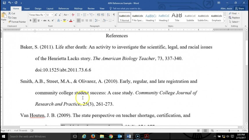 017 Apa Format Research Paper Reference Page Unique References