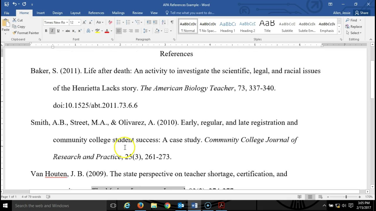 017 Apa Format Research Paper Reference Page Unique References List Full
