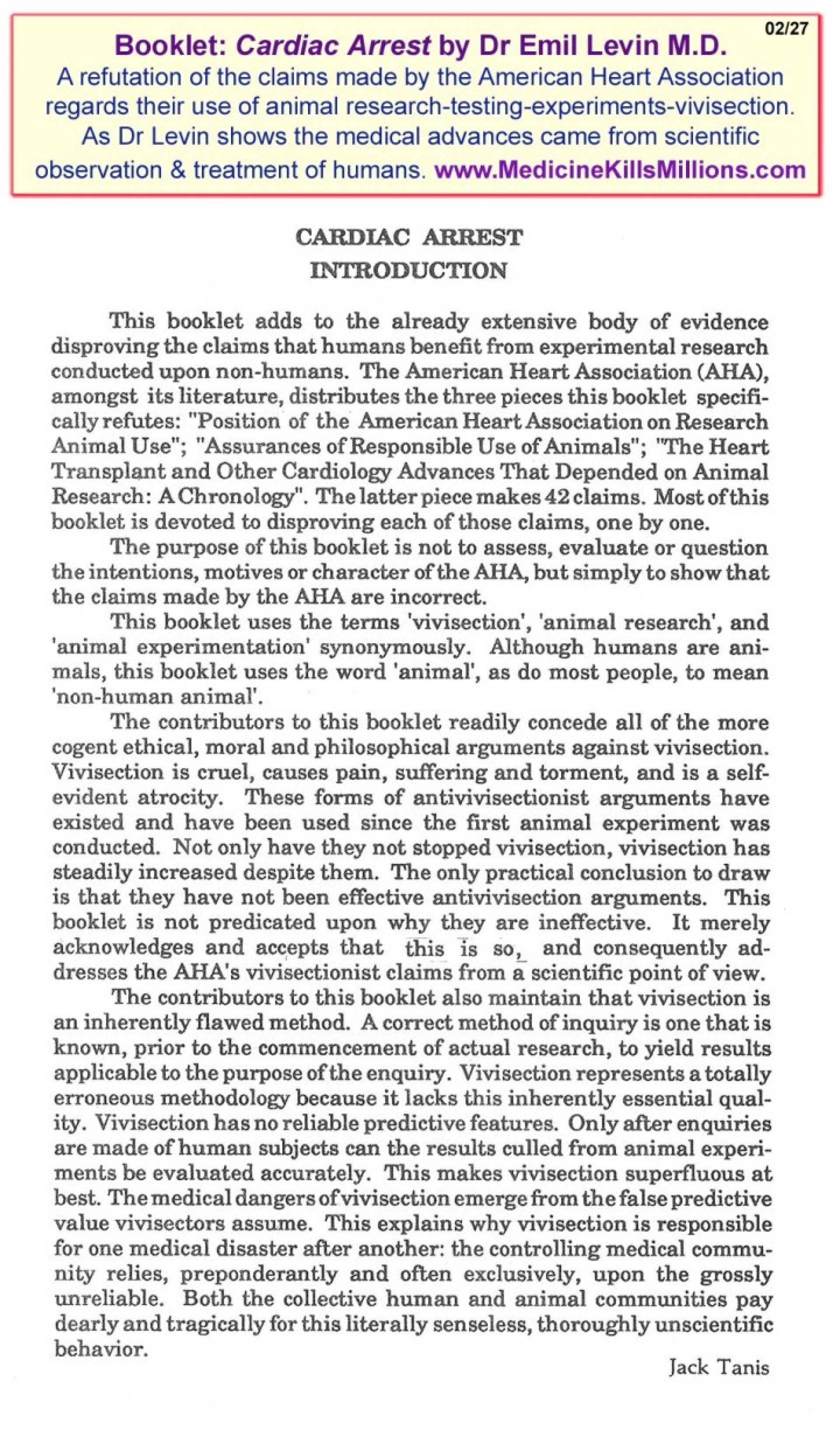 017 Cardiac Arrest Introduction Refutations Of The Unscientific Animal Experiments Testing Research Claims By20american Heart Associationresize7202c1225r Wonderful Paper 1920