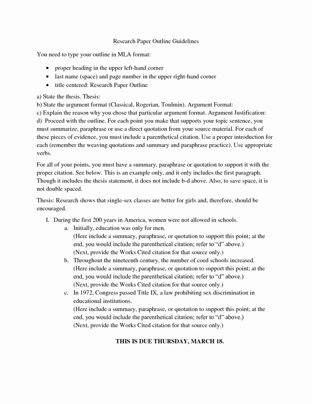 017 College Research Paper Outline Mla Format For Papers Unique Example Bamboodownunder Rare Large