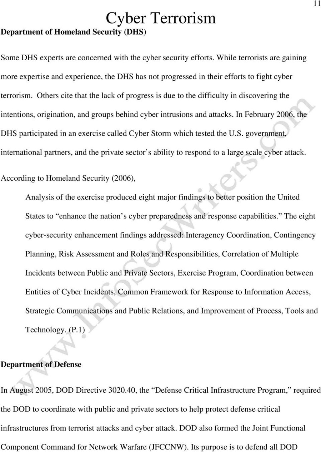 017 Cyber Terrorism Essay Research Paper Page 11 Imposing Large