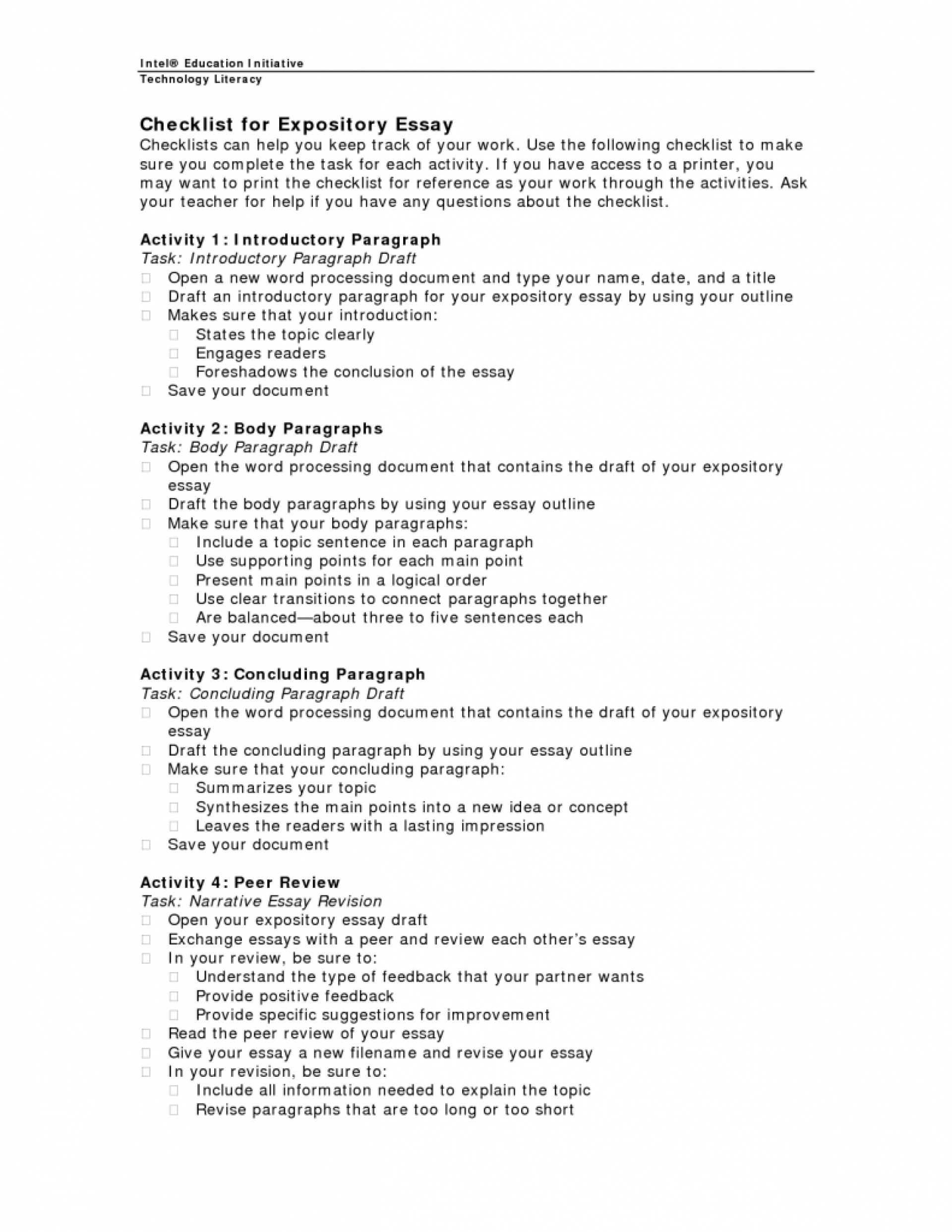 017 Expository Essay Checklist 791x1024cb Mla Research Paper Introduction Rare Paragraph 1920