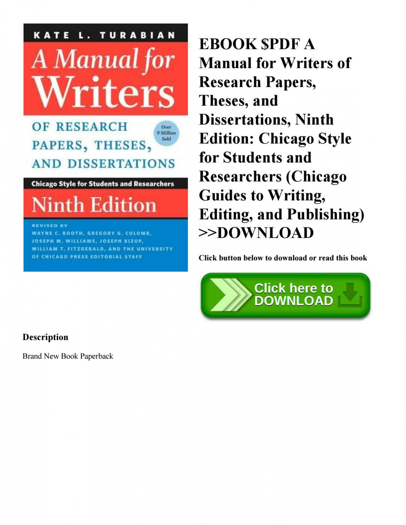 017 Manual For Writers Of Research Papers Theses And Dissertations Ebook Paper Page 1 Unbelievable A 1400