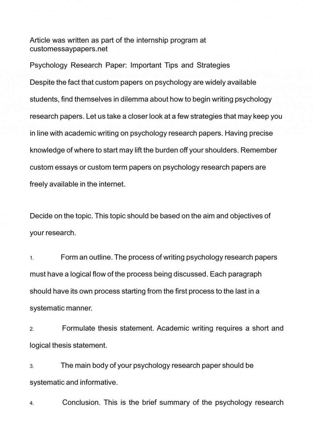 ideas for a psychology research paper