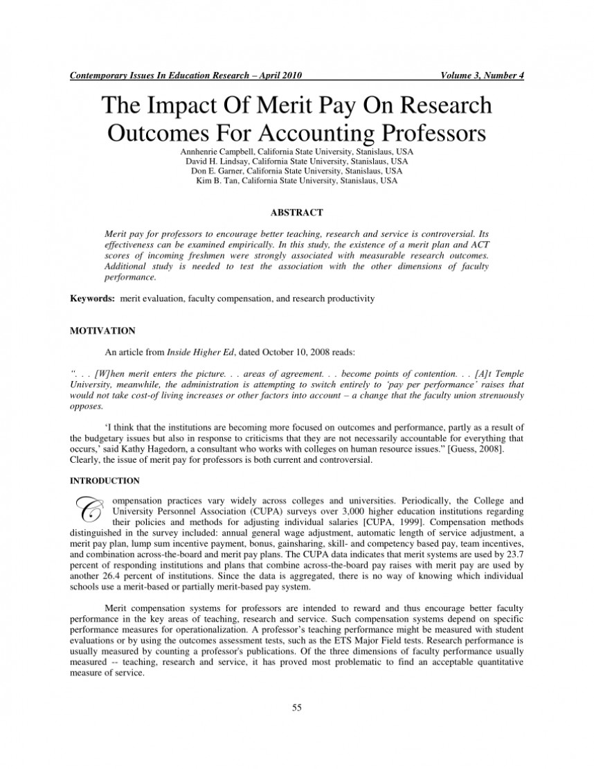 Research paper on pay for performance