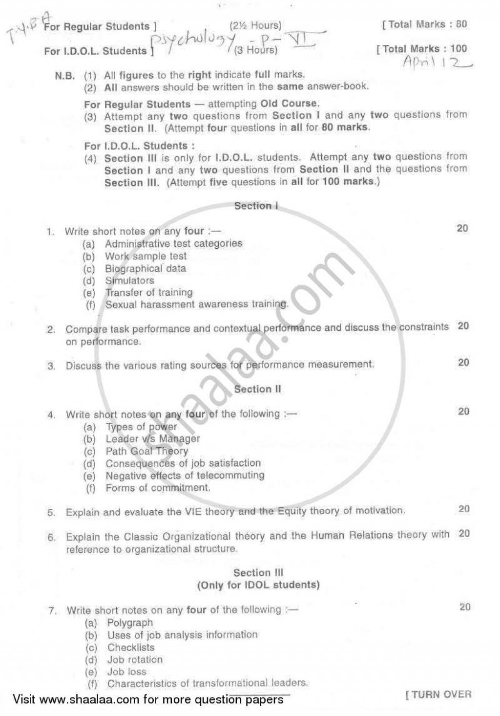 017 Psychologyearch Paper On Dreams University Of Mumbai Bachelor Industrial Organizational T Y Yearly Pattern Semester Tyba 2011 29a03925dfc524f2aa4cb10e4d3da996a Singular Psychology Research Large