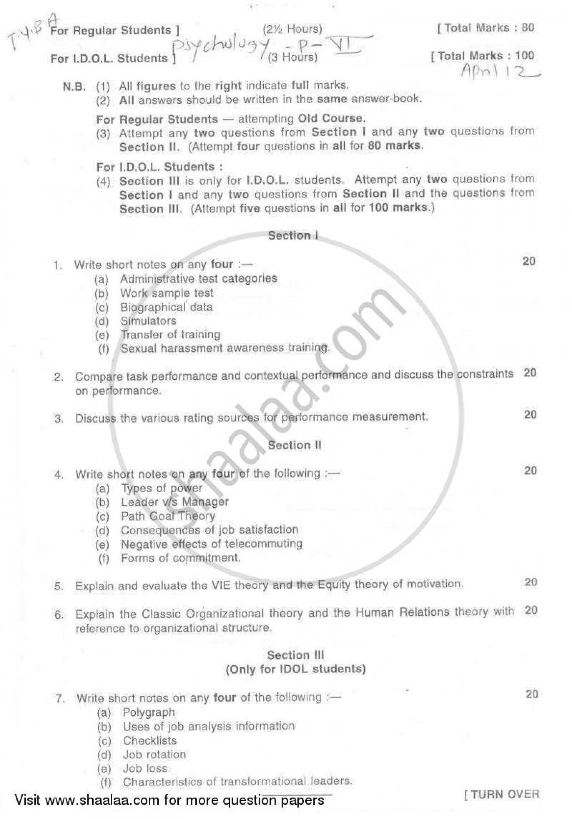 017 Psychologyearch Paper On Dreams University Of Mumbai Bachelor Industrial Organizational T Y Yearly Pattern Semester Tyba 2011 29a03925dfc524f2aa4cb10e4d3da996a Singular Psychology Research Topics Articles 1920