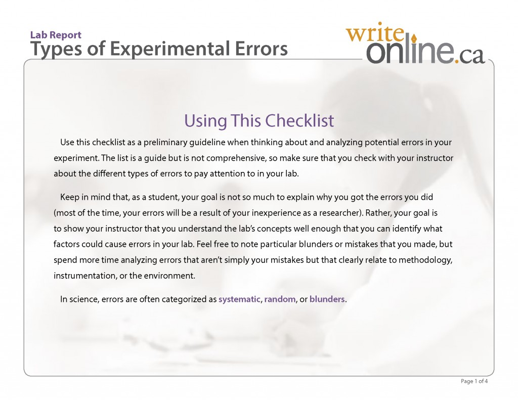 017 Research Paper Labreport Typesofexperimentalerrors Page 1 How Do U End Unique A Large