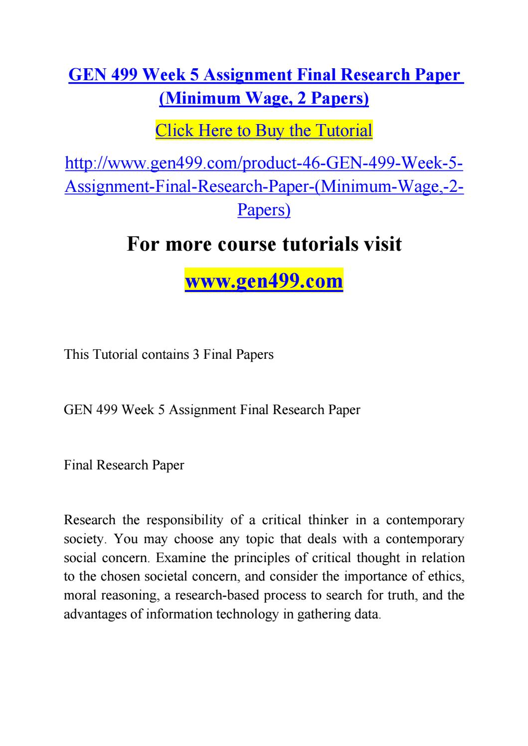 017 Research Paper Page 1 Minimum Wage Astounding Topics Full