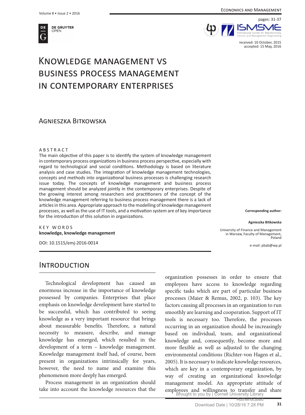 018 Business Management Research Paper Topics Singular Small Pdf Full