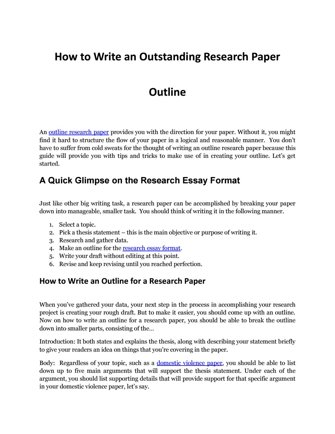 018 Page 1 Outline Of Research Staggering Paper Ppt For Powerpoint Full