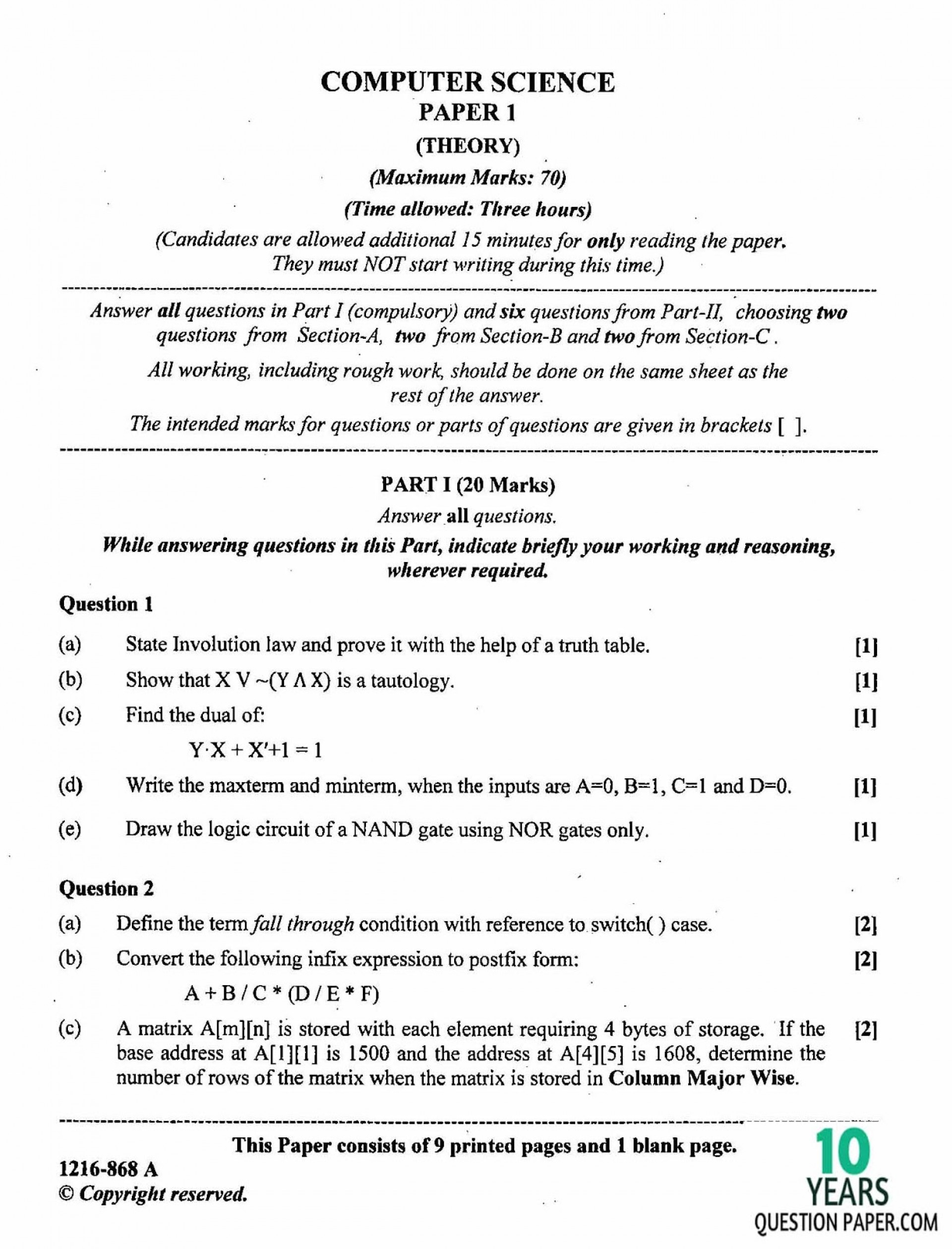 018 Research Paper Computer Science Papers Free Isc Science2b Theory Class Xii Board Question Breathtaking Download Pdf 1920