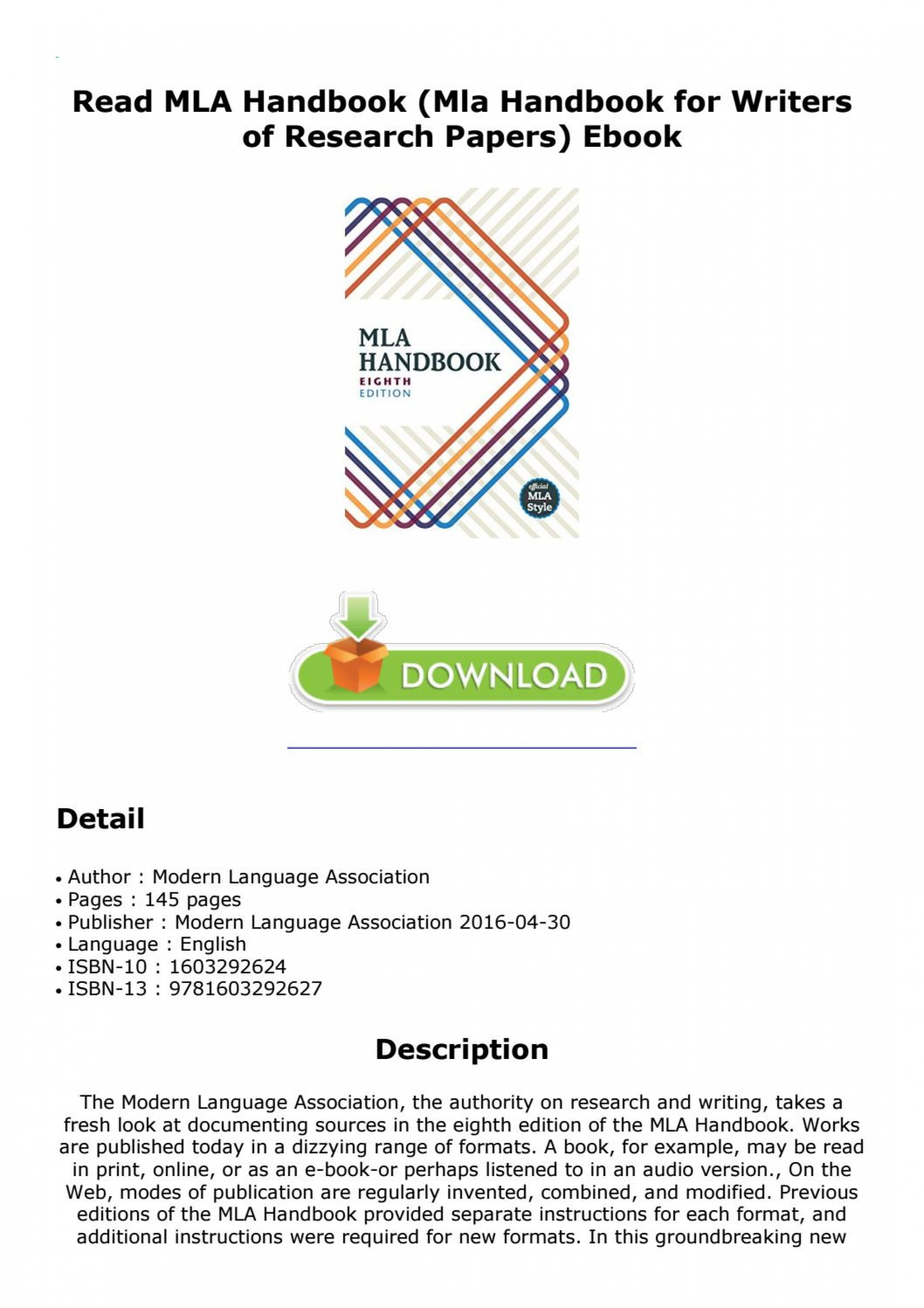 018 Research Paper Mla Handbook For Writers Of Papers 8th Edition Page 1 Unique Pdf Free Download 1920