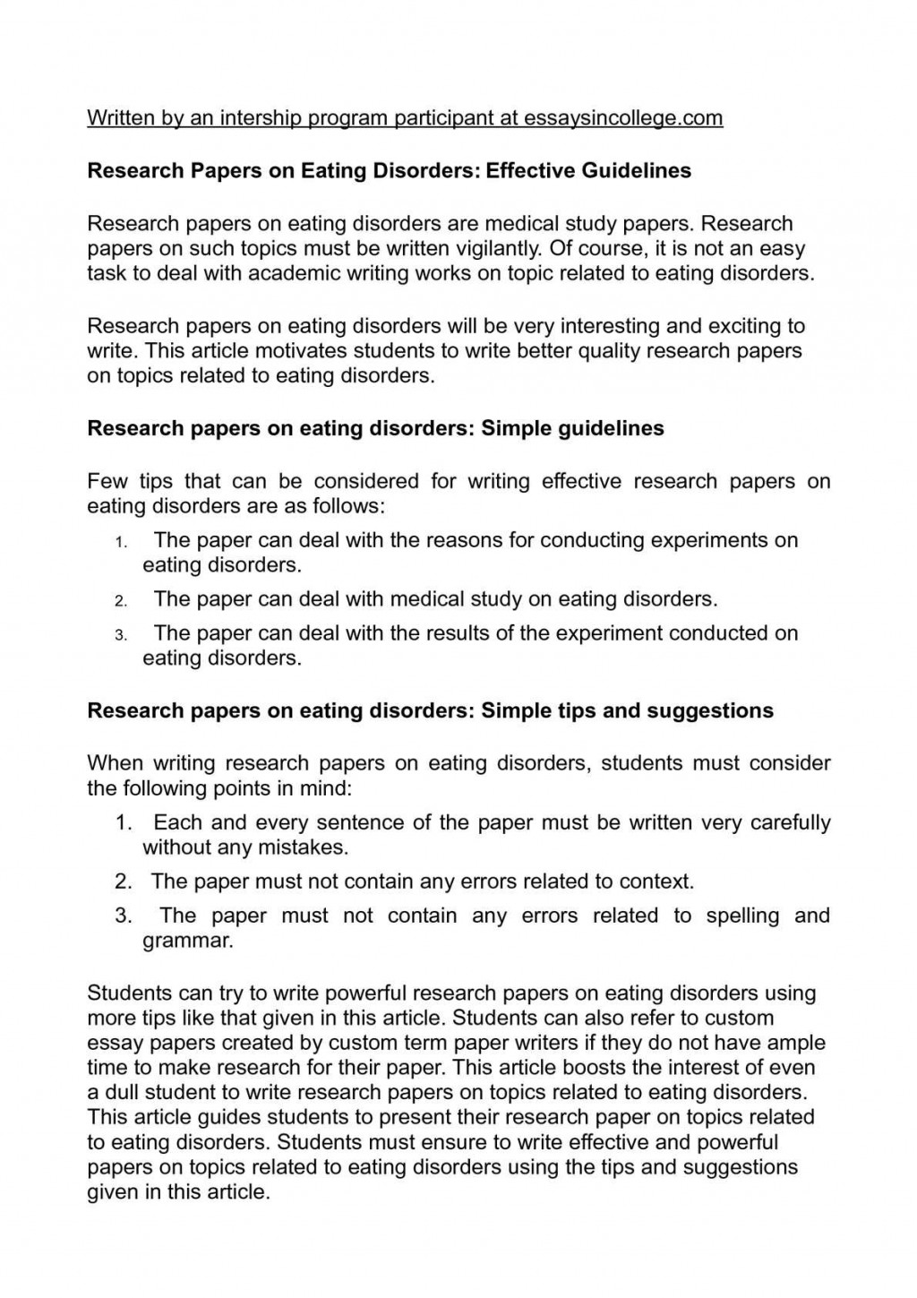 018 Research Paper On Eating Disorders Wonderful Topics Articles And The Media Large