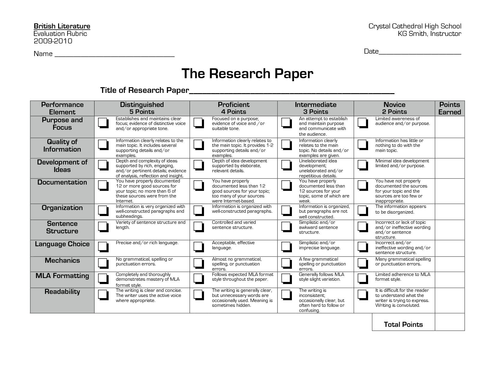 018 Research Paper Rubric Computer Science Example Stirring Pdf Full