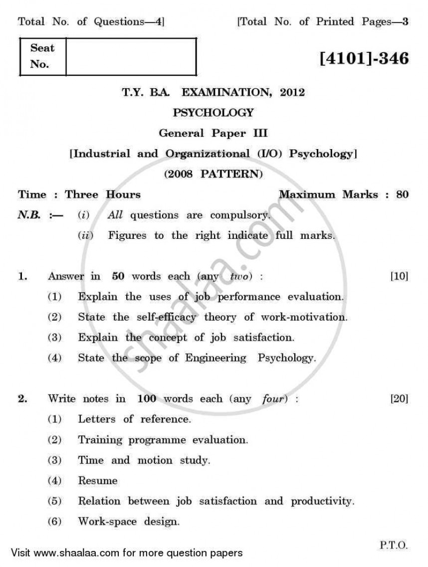 018 Research Paper University Of Pune Bachelor Psychology General Industrial Organizational Tyba 3rd Year 2011 2423148fb186f44d8a12cf9feb41c8ae0 Papers Unforgettable On Educational Pdf
