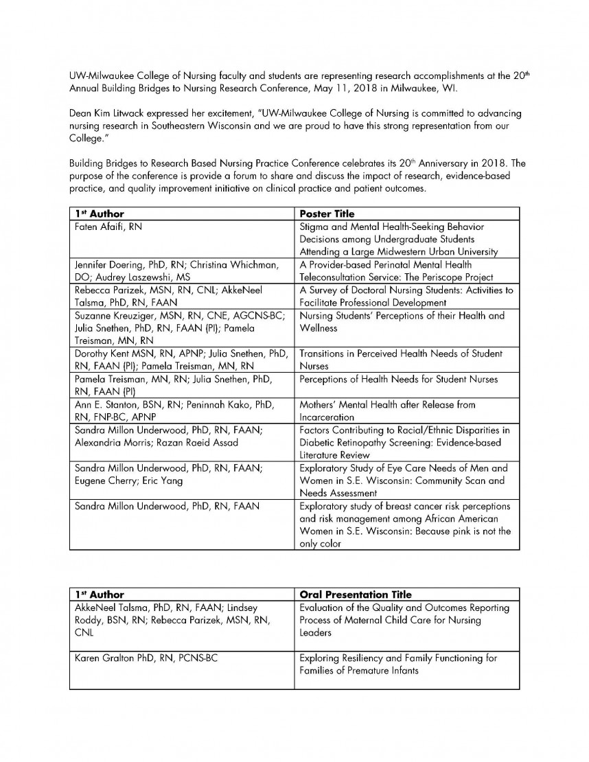 019 Nursing Research Paper Uwmweb Storycon 2018 Poster And Oral Authors Striking Sample Apa Format Home Topics Outline Example