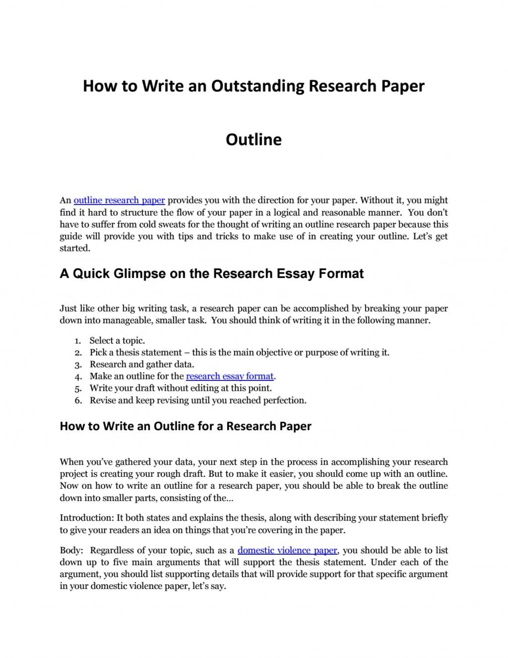 019 Outlines For Research Paper Page 1 Top A Outline On Bullying Sample Apa Format Large