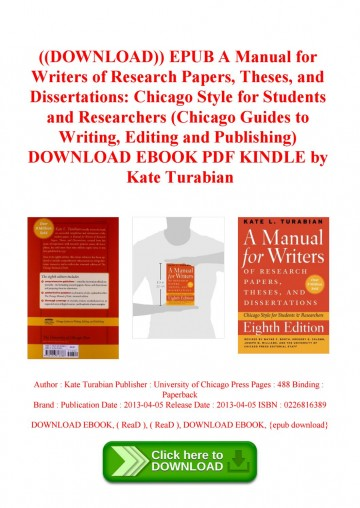 019 Page 1 Manual For Writers Of Researchs Theses And Dissertations Turabian Amazing A Research Papers Pdf 360