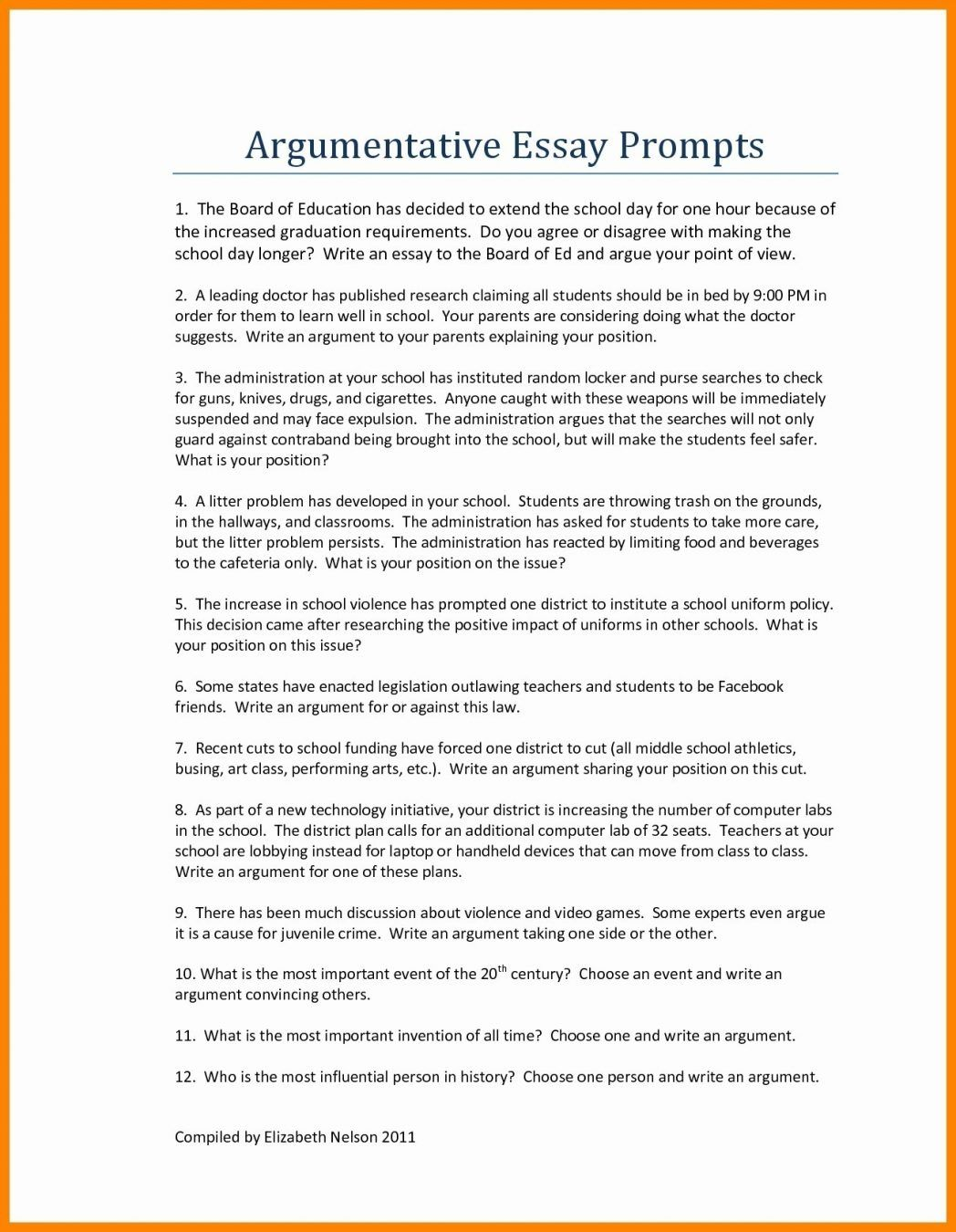 persuasive essay writing prompts for middle school