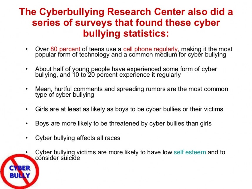 019 Research Paper Cyberbullying Center Slide Excellent 2015 Pew