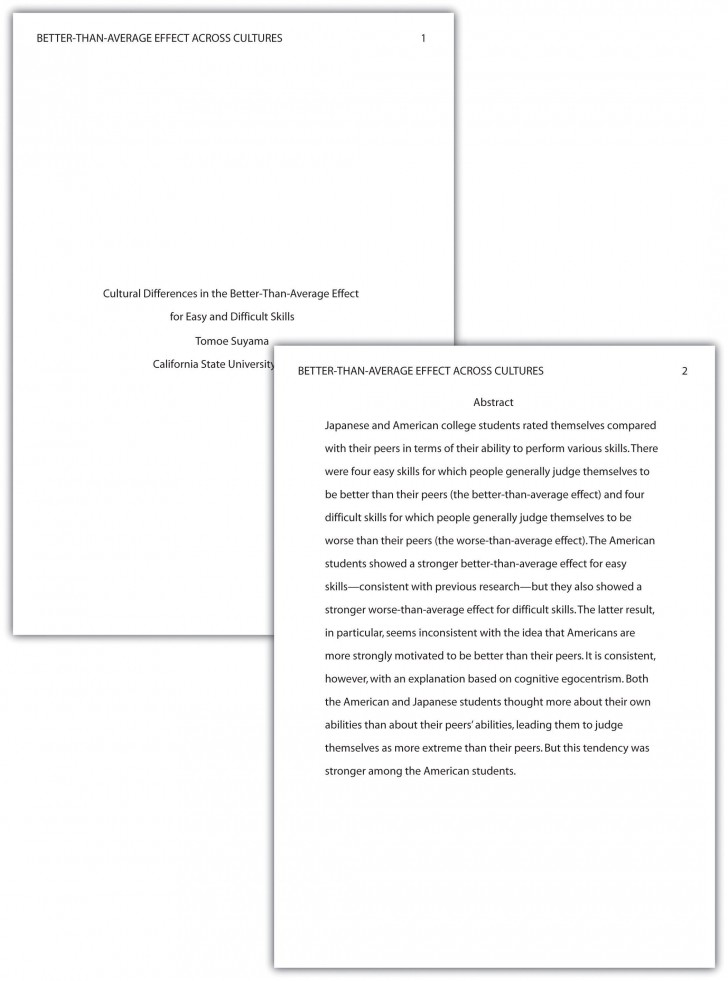 019 Research Paper Format Apa Writing Style Stunning Outline Example Sample Psychology A 6th Edition 728