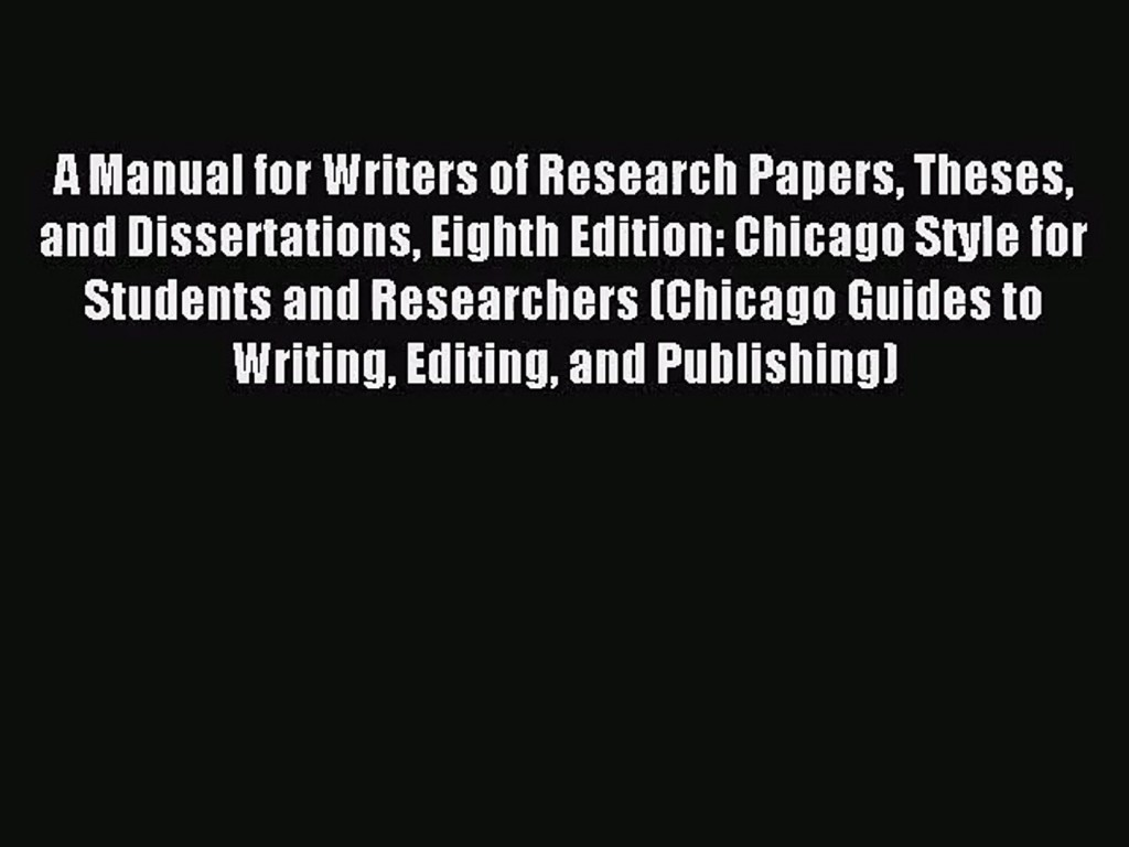 019 Research Paper Manual For Writers Of Papers Theses And Dissertations Eighth Edition X1080 Phenomenal A Pdf Large