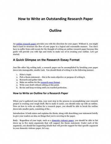019 Research Paper Page 1 Outline For Phenomenal A Template Mla How To Write An Ppt On Autism 360