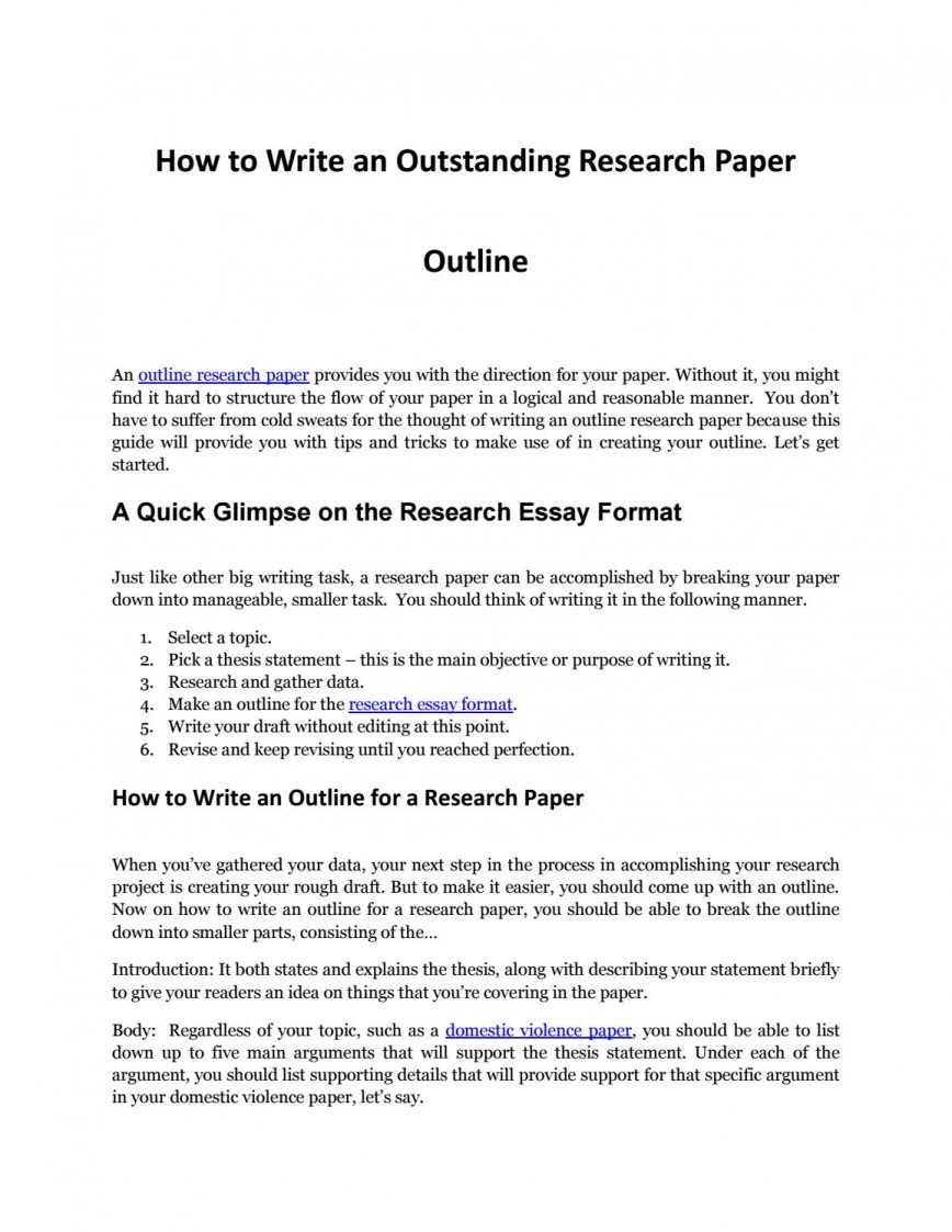 019 Research Paper Page 1 Outline For Phenomenal A Mla How To Make An Pdf Apa Style 868