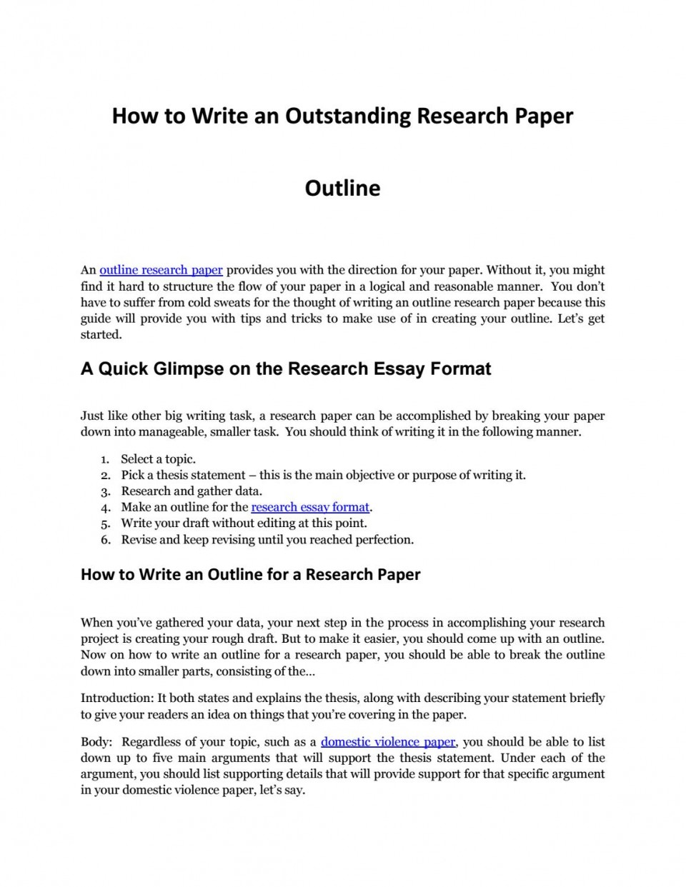 019 Research Paper Page 1 Outline For Phenomenal A Template Mla How To Write An Ppt On Autism 960