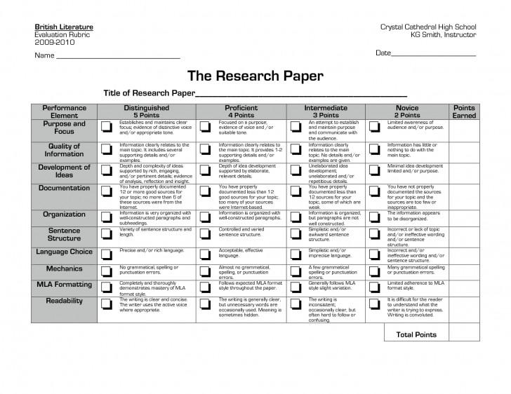 019 Research Paper Rubric High Stupendous School Outline Example Guidelines 728