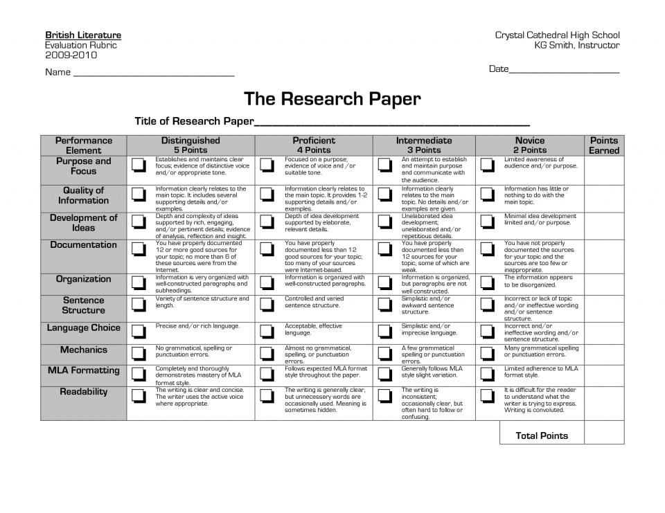 019 Research Paper Rubric High Stupendous School Example Apa Unique Ideas For Guidelines 960